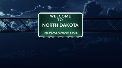 North Dakota USA State Welcome to Highway Road Sign at Night