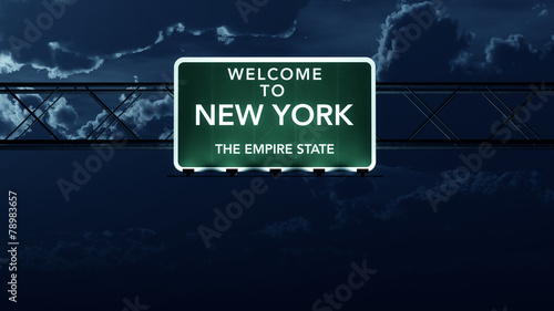 New York USA State Welcome to Highway Road Sign at Night
