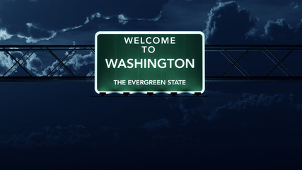 Washington USA State Welcome to Highway Road Sign at Night