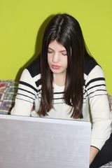 girl write in laptop