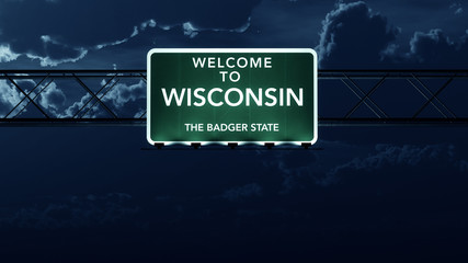 Wisconsin USA State Welcome to Highway Road Sign at Night
