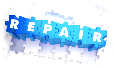 Repair - Word in Blue Color on Volume  Puzzle.
