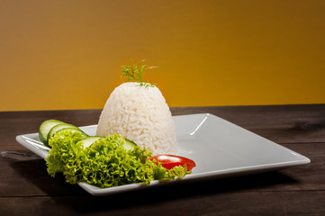 rice on brown plate