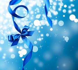 Satin ribbon bow on bright background