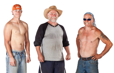 Group of three dirty workmen isolated on white