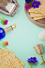 Passover background with matzo, wine and flowers