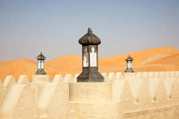Traditional arabian style lamp in a desert resort