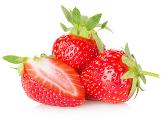 juicy strawberries isolated on the white background