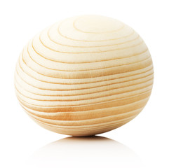 wooden egg  isolated on the white background