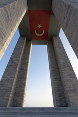 Canakkale Martyrs Memorial and Turkish Flag