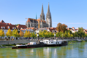 Regensburg Cathedral and old steamship, Germany