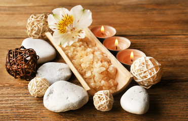 Spa still life on wooden table background