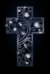 Easter cross with diamonds, vector illustration