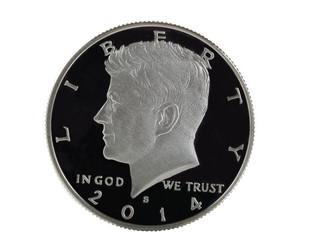 American Silver Half Dollar on White background