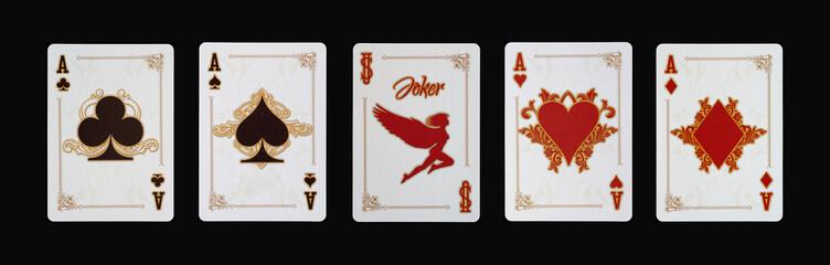 Spielkarten - Poker - Ass Vierling im Spiel