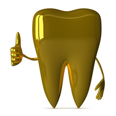 Golden tooth giving thumb up