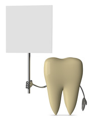 Yellow tooth with placard
