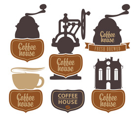 vector character set with coffee house with a coffee grinder