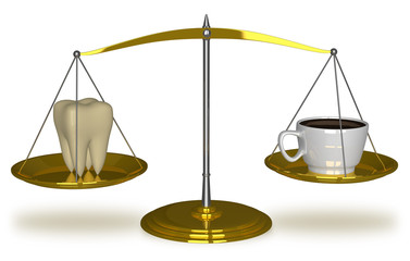 Tooth and coffee on scales