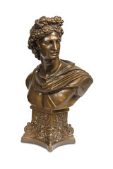 Bust sculpture of Phoebus Apollo isolated with clipping path.