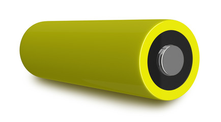 Yellow battery isolated