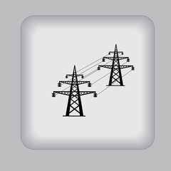 High, voltage, tower, line, vector, illustration, icon, flat