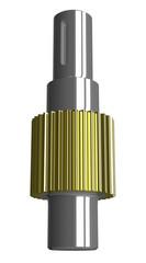 Metallic gear shaft isolated