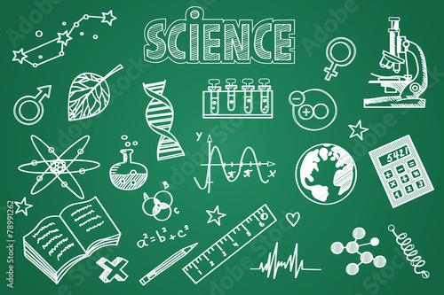 Hand drawn science set. Chalk on the blackboard