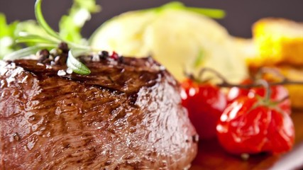 Pan zoom of beef steak