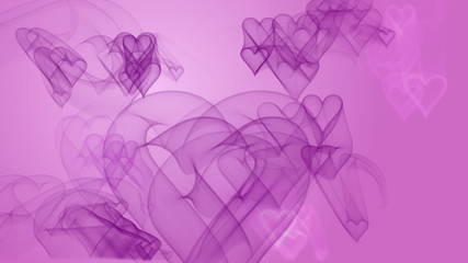 Hearts moving on pink background. Seamlessly loopable