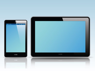 tablet pc computer and smart phone , Vector Illustration.