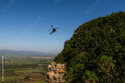 Plexiglas Helicopter Elicottero e castello