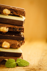 Stack of different sorts chocolate