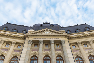 Facade of The Central University Library of Bucharest , Romania