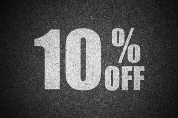 Discount percent sign on asphalt