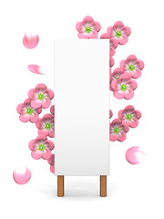 Pink Cherry Blossoms And Blank Billboard On White Background
