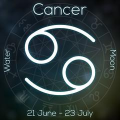 Zodiac sign - Cancer. White line astrological symbol