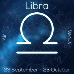 Zodiac sign - Libra. White line astrological symbol with caption