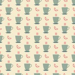 cup of coffee and croissant pattern
