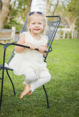 Cute Playful Baby Girl Portrait Outside at Park