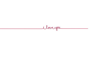 Handwritten I LOVE YOU text sign. Line separator, overlay, alpha