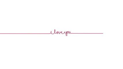 Handwritten I LOVE YOU text sign. Line separator, overlay, alpha