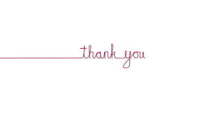 Handwritten THANK YOU text sign. Line separator, overlay, alpha