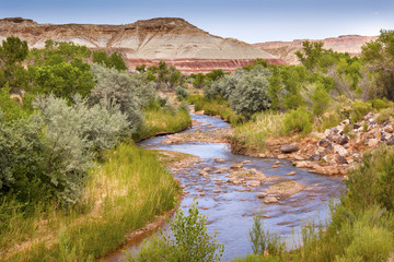 Red White Mountain Fremont River Capitol Reef National Park Utah