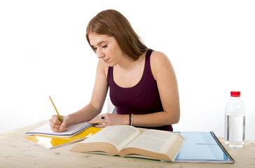young beautiful college student girl studying confident positive