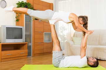 Healthy couple doing fitness