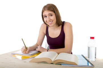 young beautiful college student girl studying happy and positive