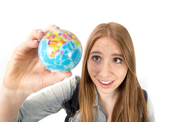 woman holding little world globe choosing travel destination