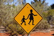 Yellow People Crossing sign in outback australia - 78999402