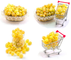 grapes in a bowl and basket